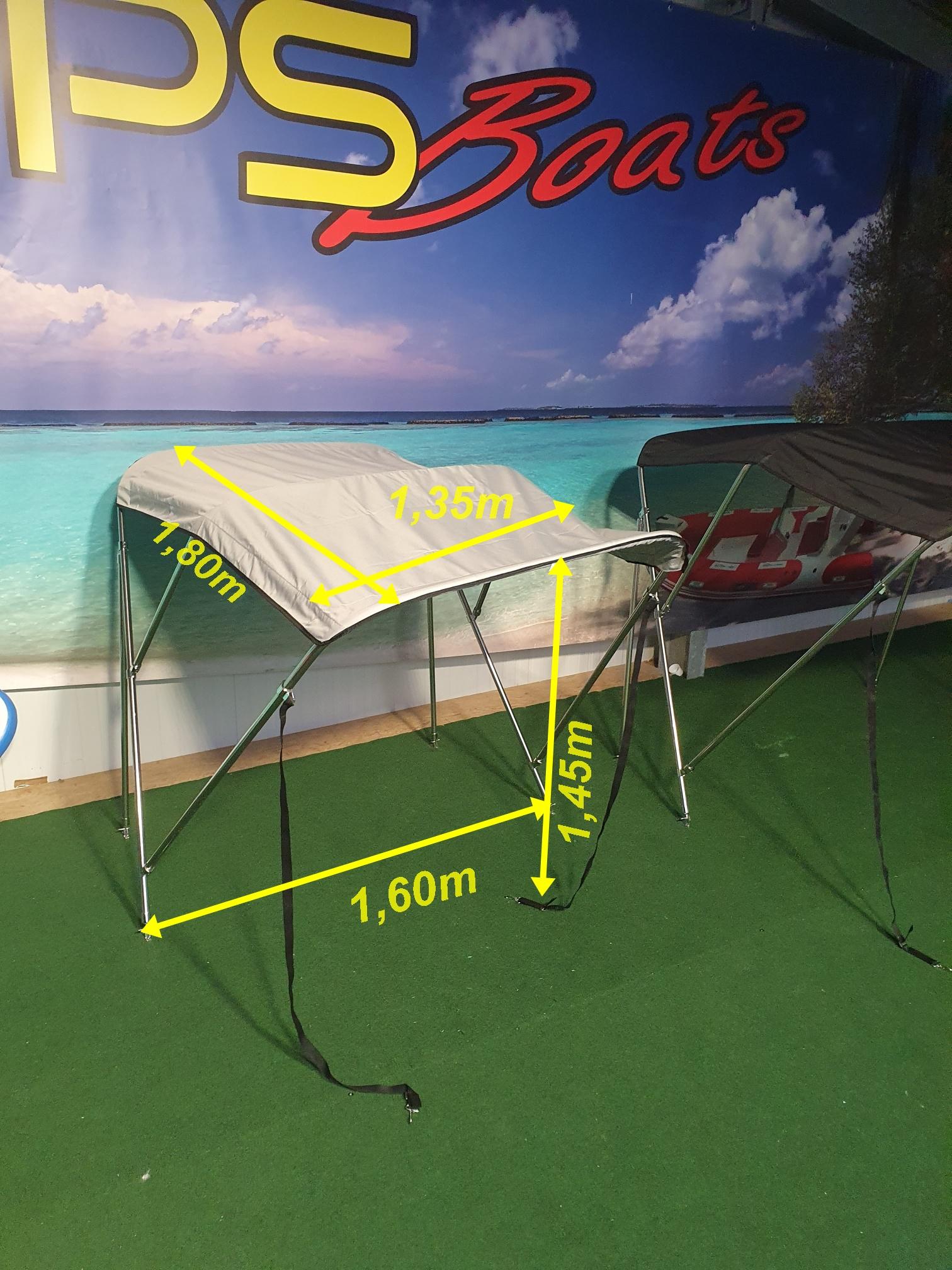 Bimini Top Breite 160m -1,70m in Edelstahl Schwarz oder Grau für GFK Boot oder Schlauchboote