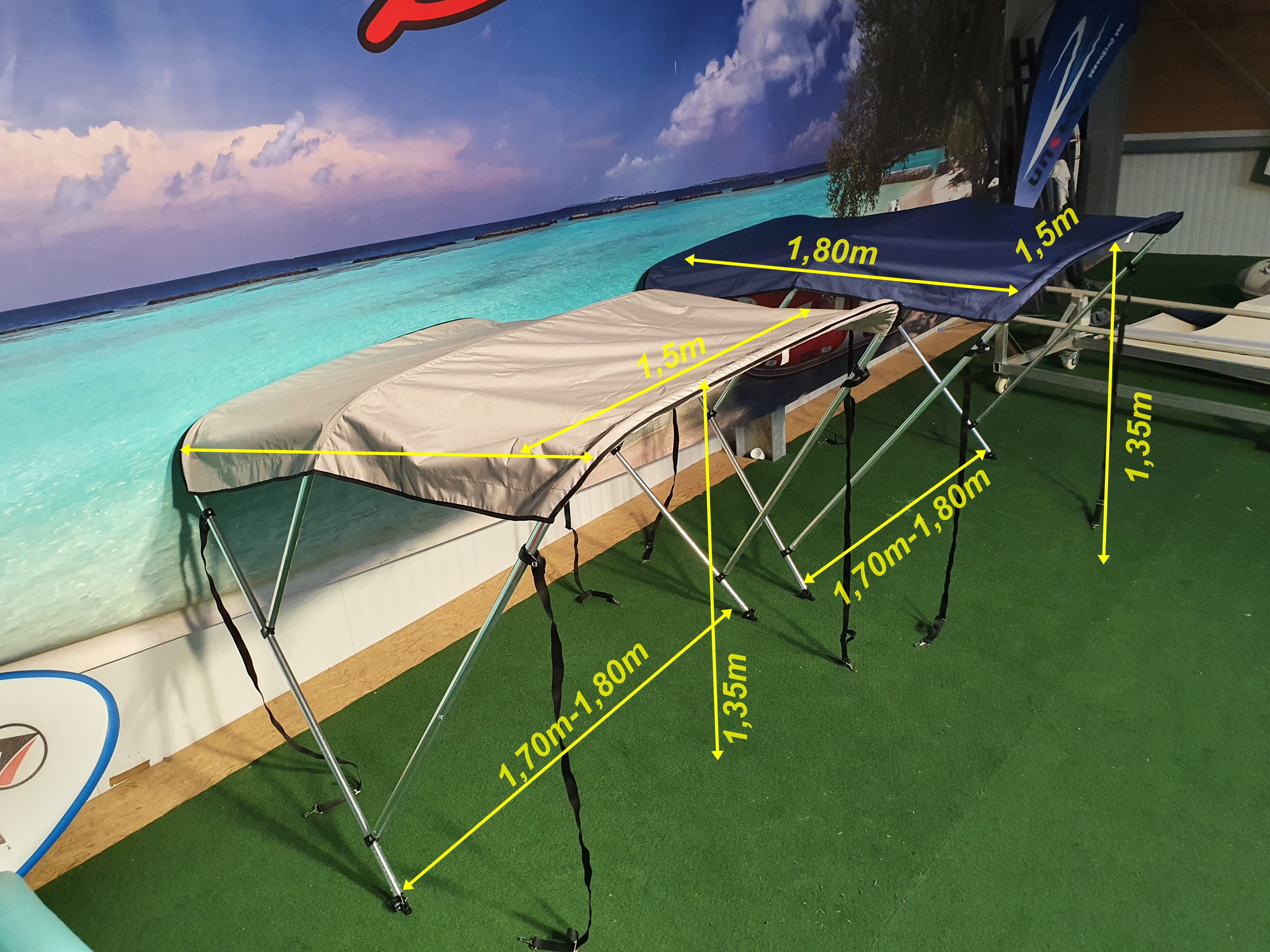 Bimini Top Breite von 1,60 cm-170 cm für Schlauchboote oder Sportboote