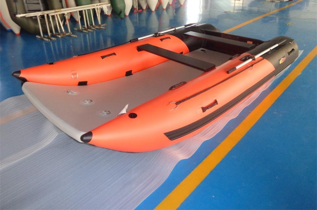 Schlauchboot HPS-Cat 420 !Vorschicht Schwarzer Luftboden! Orange/ Schwarz !Neu jetzt mit beschichteten GFK Spiegel
