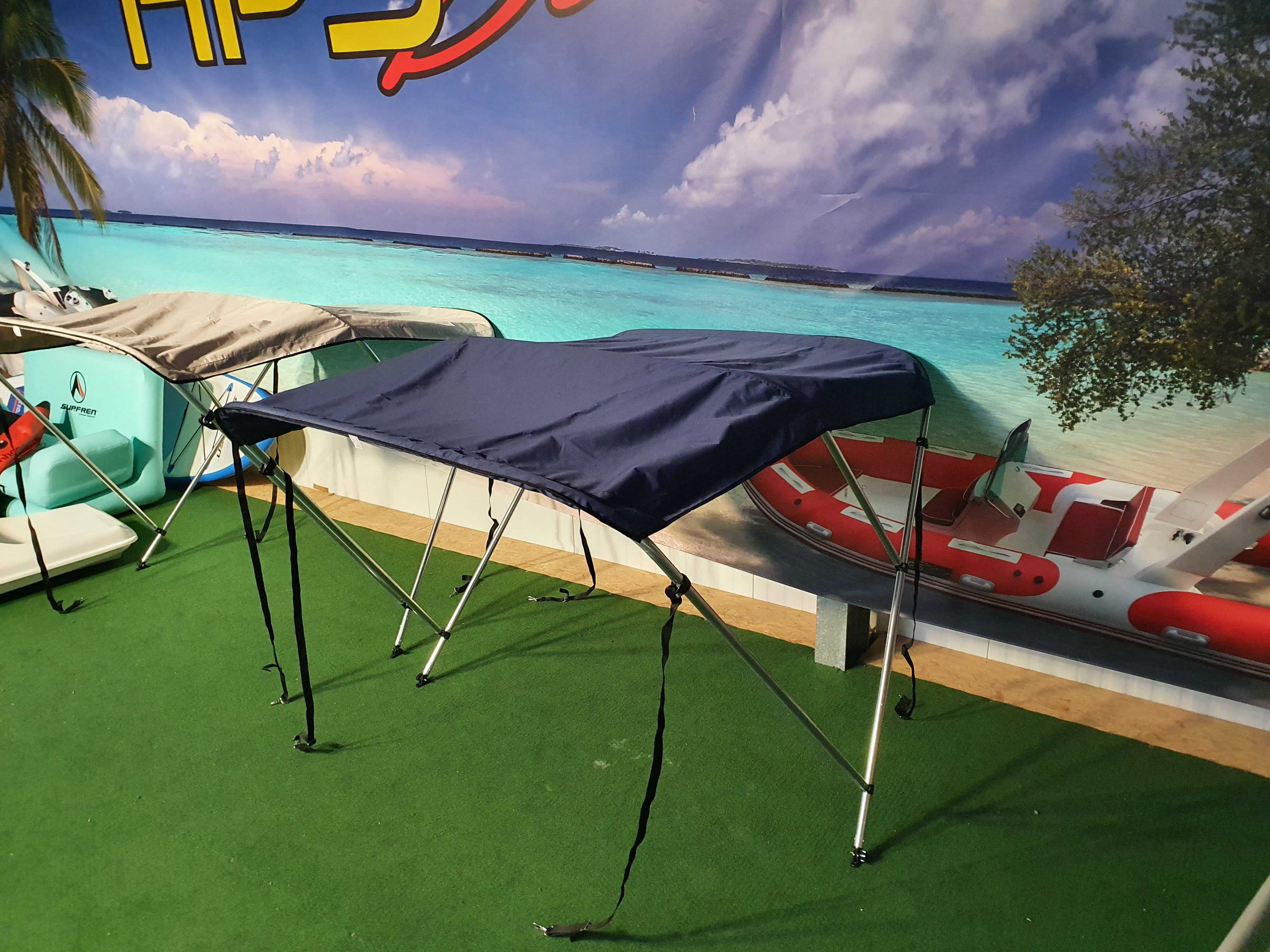 Bimini Top 1,90m -2,00mm in Blau für GFK Boot oder Schlauchboote