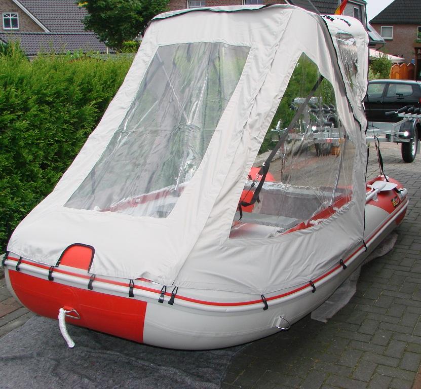Schlauchbootzelt 3,80m - 3,90m Grau 2.Wahl