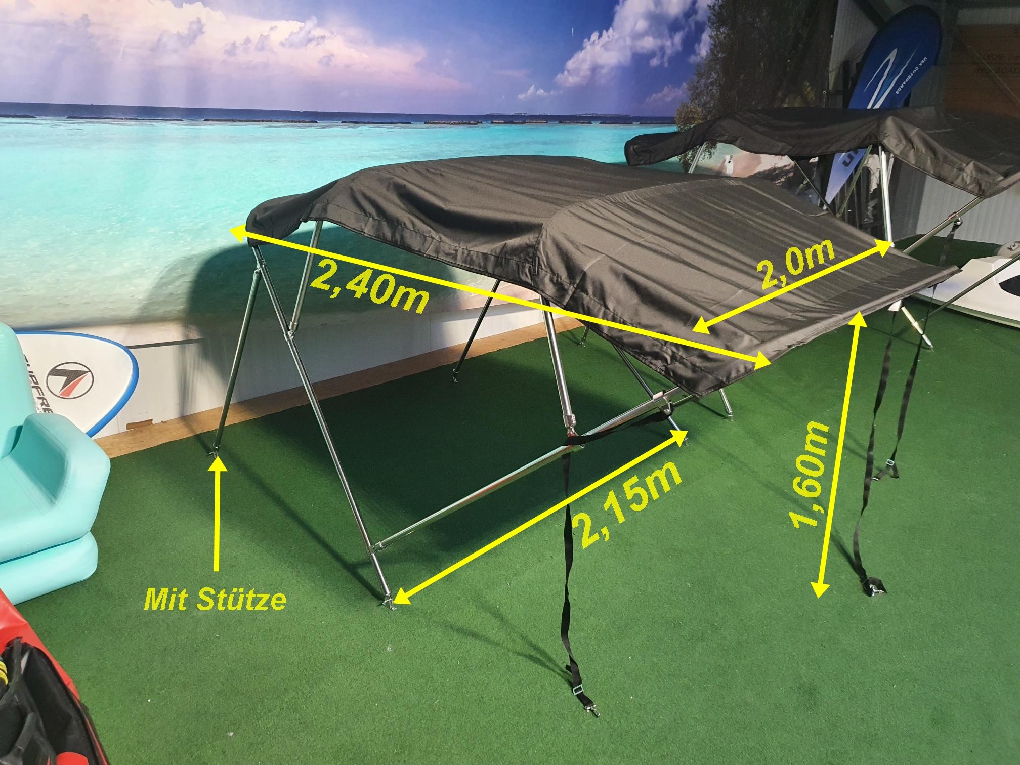 Bimini Top 2,15m -2,25m in Edelstahl in Grau für GFK Boot oder Schlauchboote