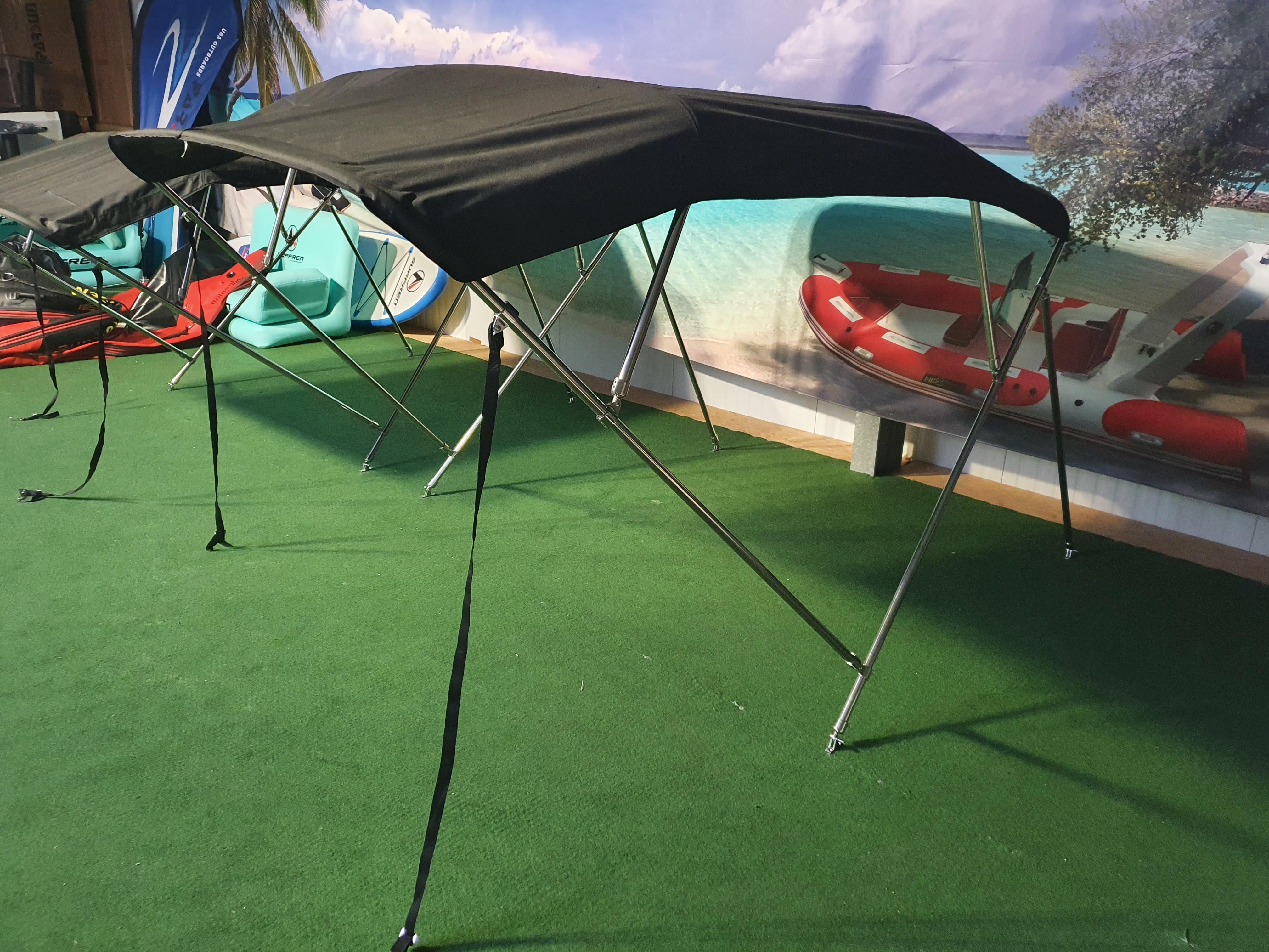 Bimini Top 1,85m -1,95m in Edelstahl in Grau oder Schwarz für GFK Boot oder Schlauchboote